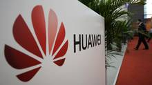 A logo of Huawei Technologies Co. Ltd. is seen at the 13th China Hi-Tech Fair in Shenzhen, Guangdong province on Nov. 16, 2011. Huawei is the the world's No. 2 telecommunications equipment maker. (STRINGER/CHINA/REUTERS)