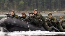 Canadian soldiers participate in advanced amphibious training in Halifax on July 30, 2013. (ANDREW VAUGHAN/THE CANADIAN PRESS)