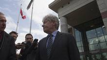 Lawyer Larry Cruickshank is pictured outside of the Chilliwack Law Courts after his accused client William Orders bail hearing was postponed until Friday, May 4 in Chilliwack, British Columbia on May 2, 2012. William Orders has been accused of Obstruction of Justice after a fatal hang-gliding accident over the weekend. (Ben Nelms for the Globe and Mail)