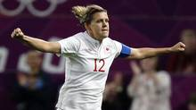 Associated Press (Canada's captain Christine Sinclair celebrates after scoring her third goal against the United States during their semi-final women's soccer match at the 2012 London Summer Olympics, Monday, Aug. 6, 2012 at Old Trafford Stadium in Manchester, England.)