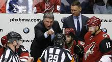 In this March 26, 2016, file photo, Arizona Coyotes coach Dave Tippett points and yells at referee Ian Walsh. (AP)