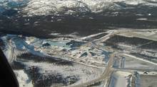 While contruction of the Voisey's Bay nickel mind went ahead on schedule -- shown above in 2005 -- the processing planet planned for Placentia, Newfoundland never materialized. Photo taken in January 2005. (INCO)