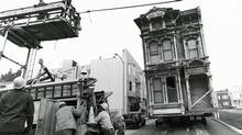 <137>Photographs from A 1974 capture<137> In 1974, a classic San Francisco Victorian building is moved from Turk Street to <137>its new home at<137> 1737 Webster St., where it stands today. (Craig Buchanan)