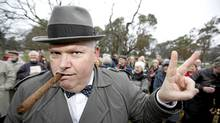 Historian Christopher Gainor, dressed up as Sir Winston Churchill, addresses a crowd under the hawthorn tree that was planted by the real Sir Winston Churchill on September 6th, 1929, in the Mayors Grove at Beacon Hill Park in Victoria, during a commeration to Sir Winston Churchill Sunday afternoon. (Deddeda Stemler for The Globe and Mail/Deddeda Stemler for The Globe and Mail)