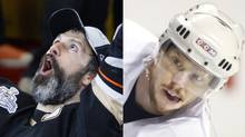 Anaheim Ducks player Scott Niedermayer lifts the Stanley Cup in 2007, while Montreal Canadiens captain Saku Koivu practises during the playoffs in 2002. (Photos by Shaun Best/Reuters; Paul Chiasson/The Canadian Press) (SHAUN BEST)