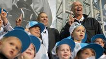 Former NHL star Mark Messier, right, and Bauer president Kevin Davis unveiled pilot programs Thursday at Mattamy Athletic Centre (formerly Maple Leaf Gardens) for launch in Ontario and Nova Scotia this fall to address declining participation. (Matthew Sherwood/The Globe and Mail)