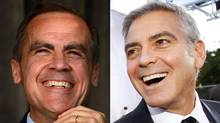 Mark Carney, left, and George Clooney