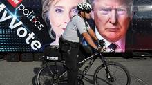 Outside Hofstra University, the site of the Sept. 26 first presidential debate between U.S. Republican nominee Donald Trump and Democratic presidential nominee Hillary Clinton, in Hempstead, New York. (Shannon Stapleton/Reuters)