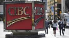 The large CIBC sign outside the bank's office building at the south east corner of King St. West and Bay St. in Toronto. (Fred Lum/The Globe and Mail)