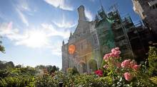 Scaffolding covers a portion of Casa Loma. (Della Rollins for the Globe and Mail)