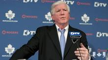 Brian Burke addressing the media, April 10th, 2012. (CP Video)