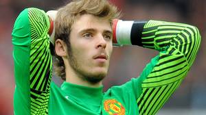 Manchester United's Spanish goalkeeper David de Gea reacts during the English Premier League football match between Manchester United and Manchester City at Old Trafford in Manchester, north-west England on October 23, 2011. Manchester United lost 1-6 to Manchester City. Getty Images/ANDREW YATES
