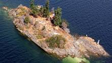 An aerial view showing construction on Grace Islet, near Saltspring Island (Eric McLay)