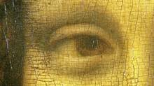 "This picture made available Wednesday, Jan. 12, 2011, by the Italian National Committee for Historical, Cultural and Environment Heritage, shows a detail of the right eye of Leonardo da Vinci's 16th century masterpiece the ""Mona Lisa"" painting. Italian researcher Silvano Vinceti, president of the Italian National Committee for Historical, Cultural and Environment Heritage, claims he has found the letter ""S"" in the woman's left eye, the letter ""L"" in her right eye, and the number ""72"" under the arched bridge in the backdrop of Leonardo da Vinci's famous painting. According to the researcher, the symbols, not visible to the naked eye, open up new leads to identifying the model, dating the painting, and attesting to Leonardo's interest in religion and mysticism. (AP)"