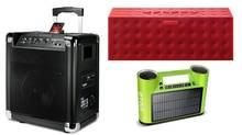 Clockwise, from left: the Ion Block Rocker, the Jawbone Big Jambox and the Eton Rukus Solar. (Handout)