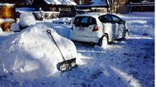 Diana Skrepnyk of Banff was gearing up to shovel snow from her driveway only to discover a neighbour had already done it.