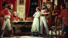 Painting of Laura Secord being brought to see Lieutenant Fitzgibbon by a Mohawk warrior, to warn the British of an impending American attack featured in The War of 1812. (National Archives of Canada, Estate of Lorne K. Smith)