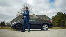 Rob Comeau stands in front of his 2010 Nissan Altima coupe, which he is trying to sell. (Chris Hau)