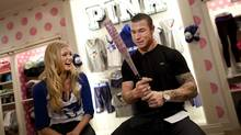 Toronto Blue Jay Brett Lawrie and Victoria's Secret model Elsa Hosk pose in Toronto to promote the MLB Victoria's Secret PINK co-branded line that now features the Toronto Blue Jays. (Moe Doiron/Moe Doiron/The Globe and Mail)
