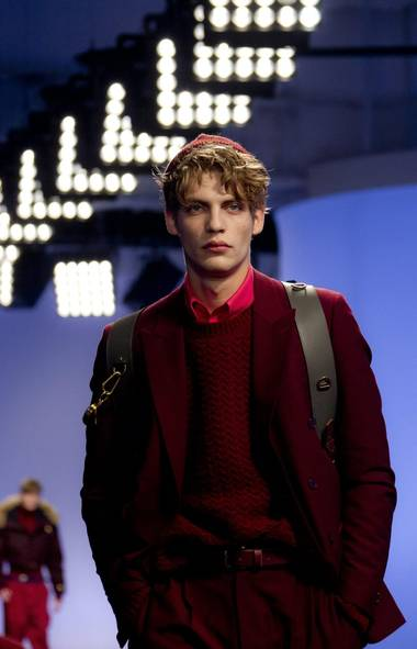 A model wears an outfit by designers for Topman, as part of their Autumn/Winter show, during Men's London Collections, in central London. (Joel Ryan/AP)