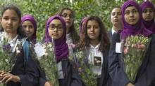 Pupils from Eden Girls' School in Waltham Forest take part in a vigil for the victims of the London Bridge terror attacks in Potters Fields Park on June 5 in London, England. (Dan Kitwood/Getty Images)
