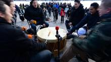 Drummers perform during a Assembly of First Nations rally on aboriginal education on Parliament Hill in Ottawa on Dec. 10, 2013. (SEAN KILPATRICK/THE CANADIAN PRESS)