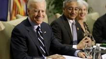 Vice President Joe Biden smiles during a roundtable discussion with panelists, including officials who worked on gun safety following the 2007 shooting at Virginia Tech, on Jan. 25, 2013, at Virginia Commonwealth University in Richmmond, Va. (Steve Helber/AP)