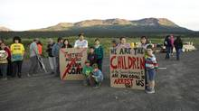 Tahltan youth at blockade with Mt. Klappan behind them. (Handout/Skeena Watershed Conservation Coalition)