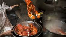 Cooked lobsters are removed from pots of boiling water at a Toronto restaurant in this 2014 file photo. (Matthew Sherwood For The Globe and Mail)