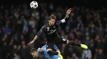 Real Madrid's Sergio Ramos was involved in both goals that lead to his team's victory over Napoli. (Andrew Medichini/AP)