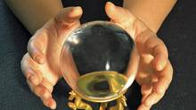 ROYALTY-FREE -- ISTOCKPHOTO Fortune Telling Crystal Ball, Fortune Teller, Fortune Telling, Horizontal, Human Hand, Magic Trick, One Person, Paranormal, Part Of, People, Photography, Sphere, Wizard (Santiago Batiz Benet/iiStockphoto)
