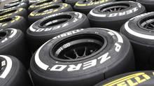 Pirelli tires at the Hungaroring circuit in Mogyorod, near Budapest, Hungary on July 25, 2013. The Hungarian Grand Prix will be held on Sunday. (BERNADETT SZABO/REUTERS)