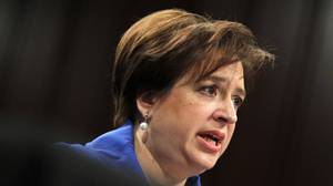 U.S. Supreme Court nominee Elena Kagan testifies during her Senate Judiciary Committee confirmation hearing in Washington Monday. Ms. Kagan faced tough criticism from Republicans, but President Barack Obama's pick is expected to win bipartisan approval for the lifetime job.