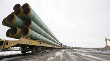 Rail cars loaded with pipe for the first Keystone pipeline sit on a siding in Milton, N.D., in February, 2008. TransCanada says it is only weeks from proposing an alternate route for Keystone XL through the ecologically sensitive Sand Hills in Nebraska. (Eric Hylden/Associated Press/Eric Hylden/Associated Press)