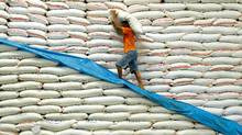 A National Food Authority (NFA) worker carries a sack of rice inside a warehouse in Manila. (JES AZNAR/AFP/Getty Images)
