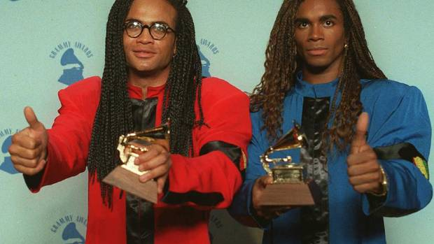 Rob Pilatus, left, and Fab Morvan of Milli Vanilli are the godfathers of lip-synching. They were outed in 1990 during a live concert when the track they were singing to started skipping. It later emerged the Grammy-winning duo didn't even sing on their studio albums. They returned their Grammies, lost their recording contract and fell into disgrace, but today the musical duo might be seen as pioneers in what has become a totally acceptable, even expected, practice (the lip-synching part, not the never-singing-at-all part). (AP)