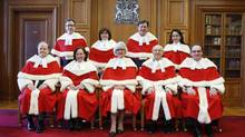 The judges of the Supreme Court of Canada are shown in Ottawa on Feb. 10, 2015. (BLAIR GABLE/REUTERS)