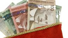Christmas Stocking and canadian dollars.