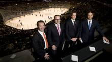From left to right, Ice Edge Holdings chairman Keith McCullough, CEO Anthony LeBlanc, CFO Todd Jordan, and COO Daryl Jones pose for a photo in a suite at the ACC during NHL regular season action between the Phoenix Coyotes and Toronto Maple Leafs on Wednesday, December 16, 2009. (Darren Calabrese For The Globe and Mail)