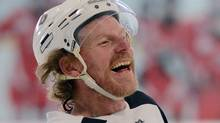 Ottawa Senators Daniel Alfredsson has a laugh during practice at the Bell Sensplex in Ottawa on Monday, January 7, 2013. (The Canadian Press)