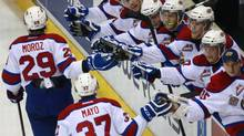 Edmonton Oil Kings' Mitchell Moroz celebrates with the bench after scoring against the Val-d'Or Foreurs during second period semifinal action at the Memorial Cup CHL hockey tournament, in London, Ont. on Friday, May 23, 2014. (Dave Chidley/THE CANADIAN PRESS)