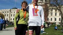 Michael Stephensen with his sister-in-law Jackie at the Twin Cities Marathon in Minneapolis in October, 2012.