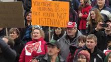 Farmers gather at the Alberta Legislature in Edmonton on Dec. 3 to protest Premier Rachel Notley's farm reform bill. (Dean Bennett/THE CANADIAN PRESS)