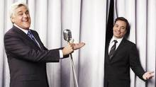 Jay Leno, host of The Tonight Show with Jay Leno, left, will be replaced by Jimmy Fallon, host of Late Night with Jimmy Fallon. (Andrew Eccles/NBC/AP)