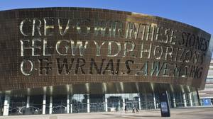 Welsh and English phrases greet visitors to the Wales Millennium Centre, home for the performing arts.