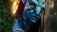 "In this film publicity image released by 20th Century Fox, the character Neytiri, voiced by Zoe Saldana, is shown in a scene from, ""Avatar."" (WETA/AP)"