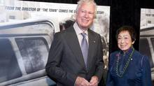 Former Canadian ambassador Ken Taylor and his wife Pat, pose for photographers at the premiere of the film Argo in Washington on Oct. 10, 2012. (Cliff Owen/Associated Press)
