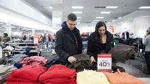 Daniel Paolucci and Stefanie Papini shop in Richmond Hill, Ont. Consumer spending is on track for its strongest pace in three years. (Matthew Sherwood for The Globe and mail)