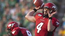 Calgary Stampeders quarterback Drew Tate looks to make a pass during the first half of CFL pre-season football action against the Saskatchewan Roughriders in Regina, Sask., Friday, June 22, 2012. (Liam Richards/THE CANADIAN PRESS)