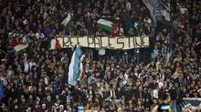 "Lazio fans hold a banner reading ""Free Palestine"" during a Europa League Group J soccer match between Lazio and Tottenham Hotspur (Andrew Medichini/The Associated Press)"